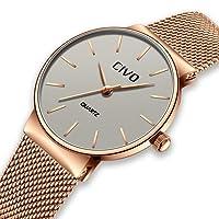 CIVO Relojes para Mujer Reloj Damas de Malla Impermeable Oro Rosa Silm Minimalista Elegante Banda de Acero Inoxidable Relojes de Pulsera Moda Vestir Negocio Lujo Casual Reloj de Cuarzo