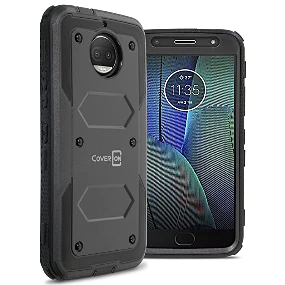 sports shoes dcf85 a23b9 CoverON Motorola Moto G5S Plus Case, [Tank Series] Protective Full Body  Phone Cover with Tough Faceplate - Black
