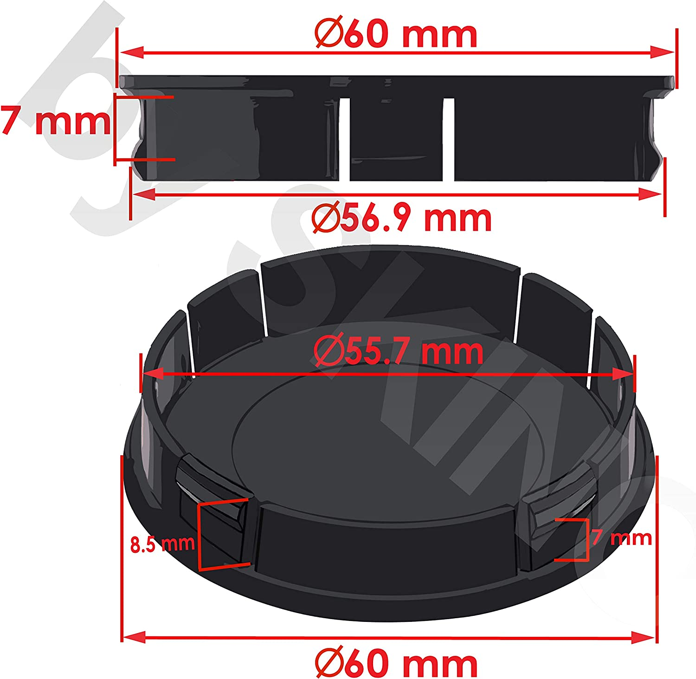 SkinoEu/® 4 x 60mm Universal Tapas de Rueda de Centro Fast /& Furious Tapacubos para Llantas Coche C 31