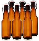 12 oz Swing Top Kombucha Bottles – Grolsch Style Flip Top Glass Bottles – Reduce Carbonation Time – Reusable Home Brewing Bottles (Amber, Case of 6)