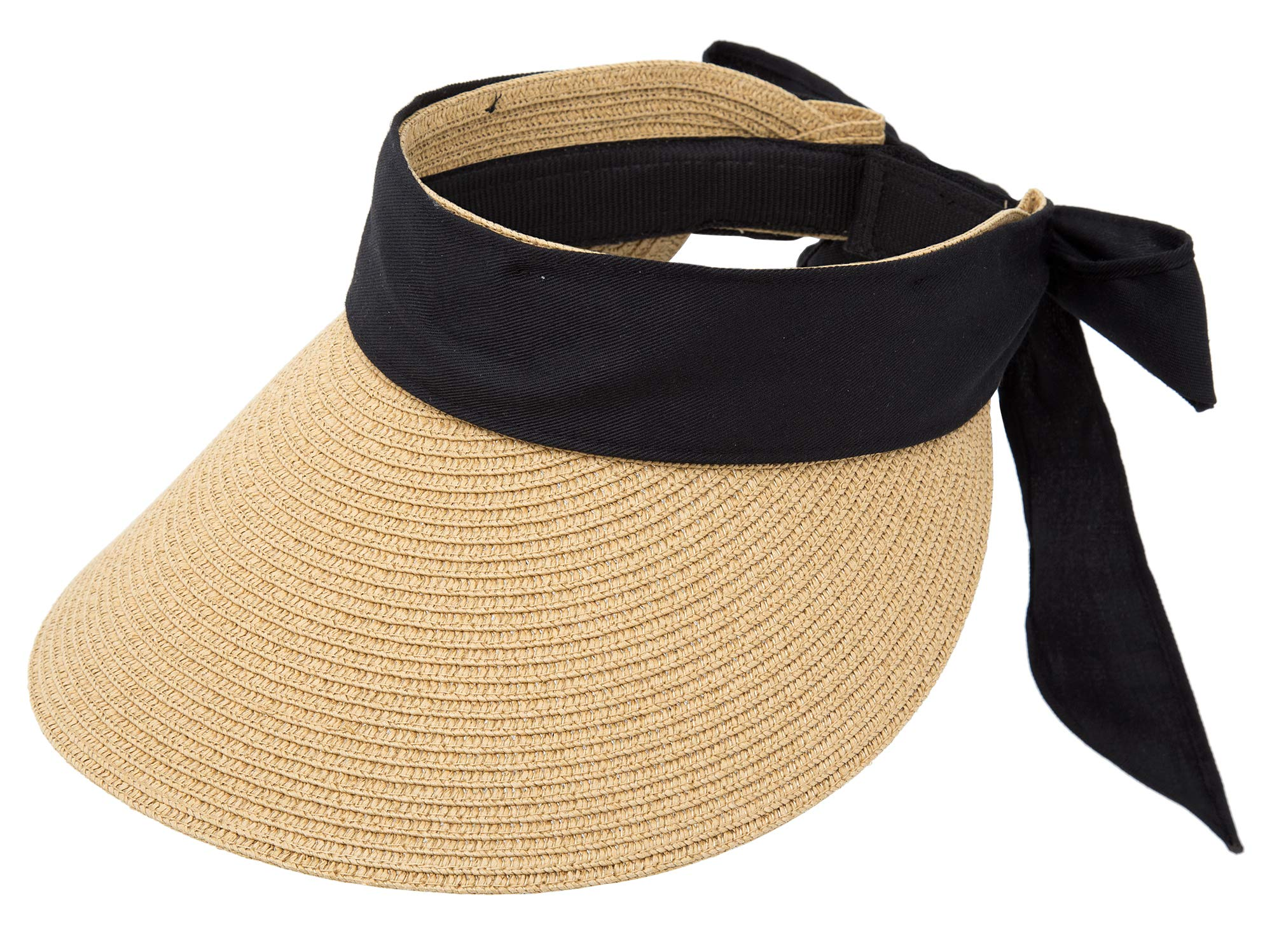 Women UV Protection Fordable Straw Sun Visor with Big Brim Hat Designed in Korea