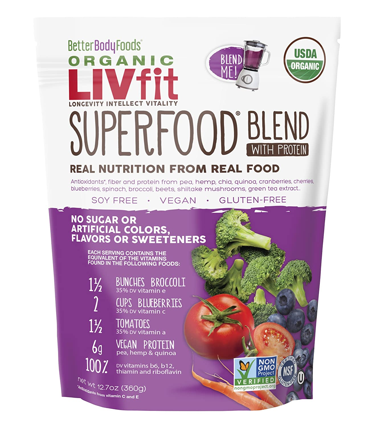 Better Body Foods Organic Livfit Superfood Blend with Protein