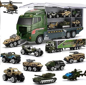 26 in 1 Camion E Soldatini Giocattoli Militari Kit, Mini Auto da