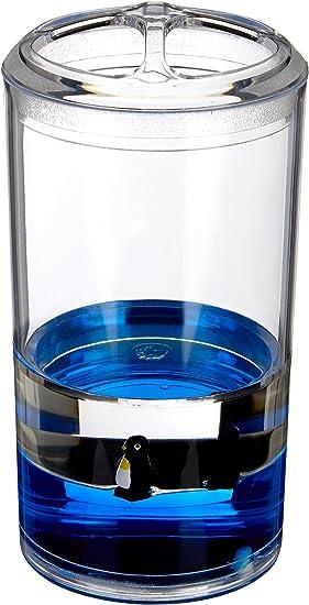 colore: Trasparente//Blu Premier Housewares Portaspazzolino in acrilico con pinguini galleggianti 7 x 7 x 13 cm