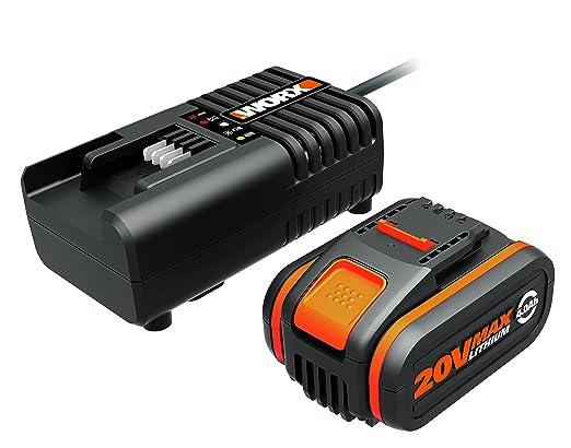 Worx WA3604 Akku mit Akku Ladestation (20V – 4000mAh Li-Ion Akkubatterie und Akku Ladestation)