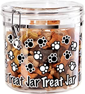 Oggi Jumbo Arylic Airtight 130-Ounce Pet Treat Canister with Paw Prints Motif-Food Storage Container