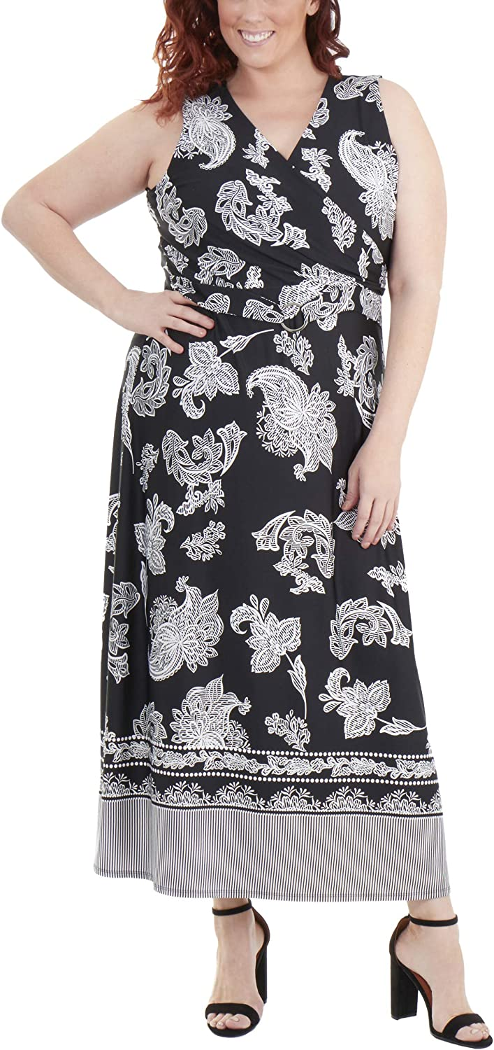 NY Collection Plus Size Wrap Front Maxi Dress with Hardware Belt Trim