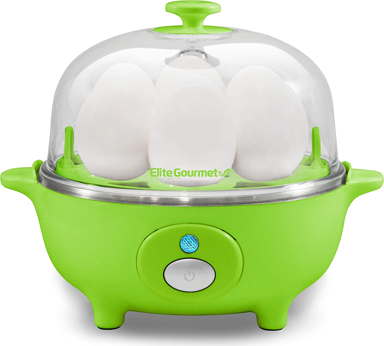 Elite Cuisine EGC-007G Easy Electric Egg Poacher, Omelet & Soft, Medium, Hard-Boiled Egg Cooker with Auto-Shut off and Buzzer, 7 Egg Capacity, Green