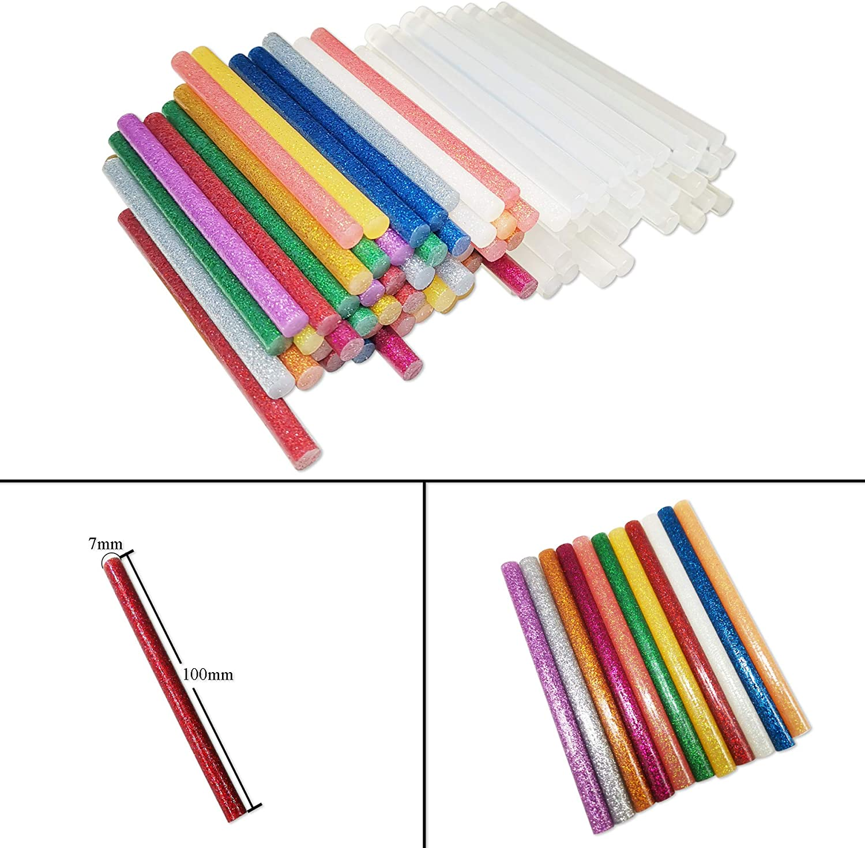 13 Popul/äre Farben 60 Transparent und 60 Glitzerfarbe f/ür 7mm Hei/ßklebepistole DDSTG 120 Hei/ßklebesticks 7x100mm
