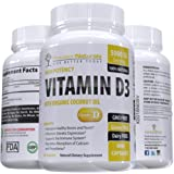 Vitamin D3 5000 IU - 360 Softgels in Cold Pressed Organic Coconut Oil, High Potency, Made in USA, Non GMO, Supports Bone Strength and Immune System Health, Natures Best Supplement Fast Dissolve