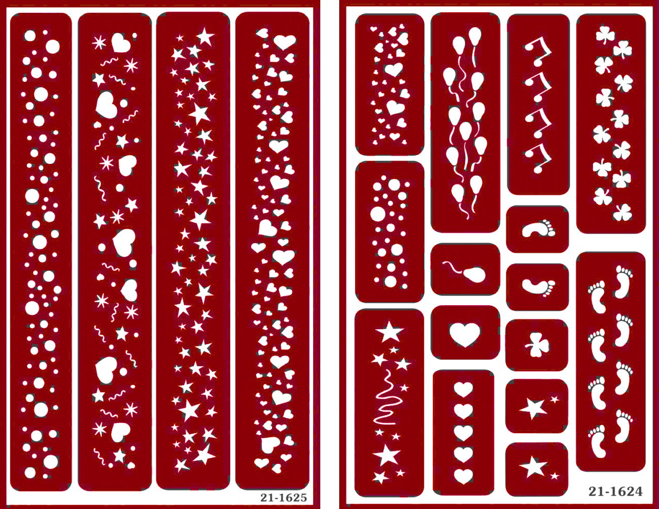Over 'n' Over Reusable Self-Stick Etching Stencil for Glass (or Stamping) - Bundle of Two Sets - Borders - Balloons, Hearts, Footsteps, Bubbles, and Clover