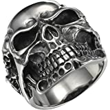 HooAMI Gothic Stainless Steel Skull Biker Men's Ring,Antique Silver