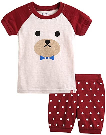 cdbd8675f0 Vaenait baby 100% Cotton Kids Girls Summer Clothing Set Cherry Bear M