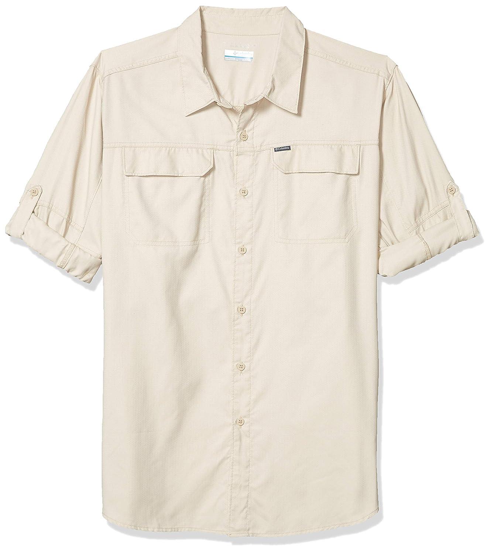 X-Large Moisture Wicking Fabric Ancient Fossil Dobby Print UV Sun Protection Columbia Mens Silver Ridge 2.0 Plaid Long Sleeve Shirt