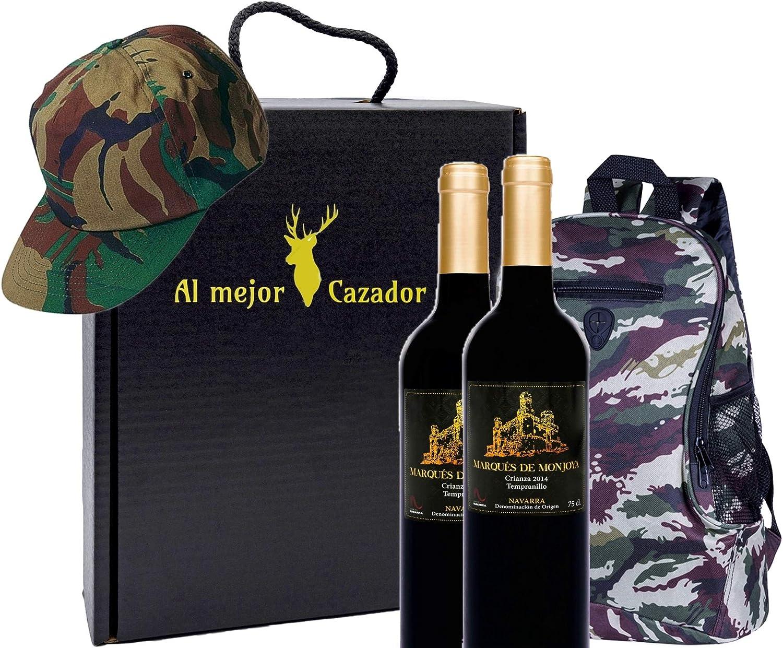 Caja Regalo Vino - Pack de 2 Botellas de Crianza + Regalo Al Mejor Cazador + Kit con Gorra y Mochila de Camuflaje para Caza - D.Origen Olite Navarra añada del 2014 - Ideal para regalar