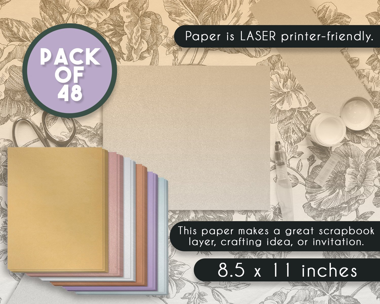 Baby Showers Double Sided 8.5 x 11 Inches Birthdays 96-Pack Shimmer Papers Dark Silver Metallic Paper Perfect for Weddings Craft Use Laser Printer Compatible