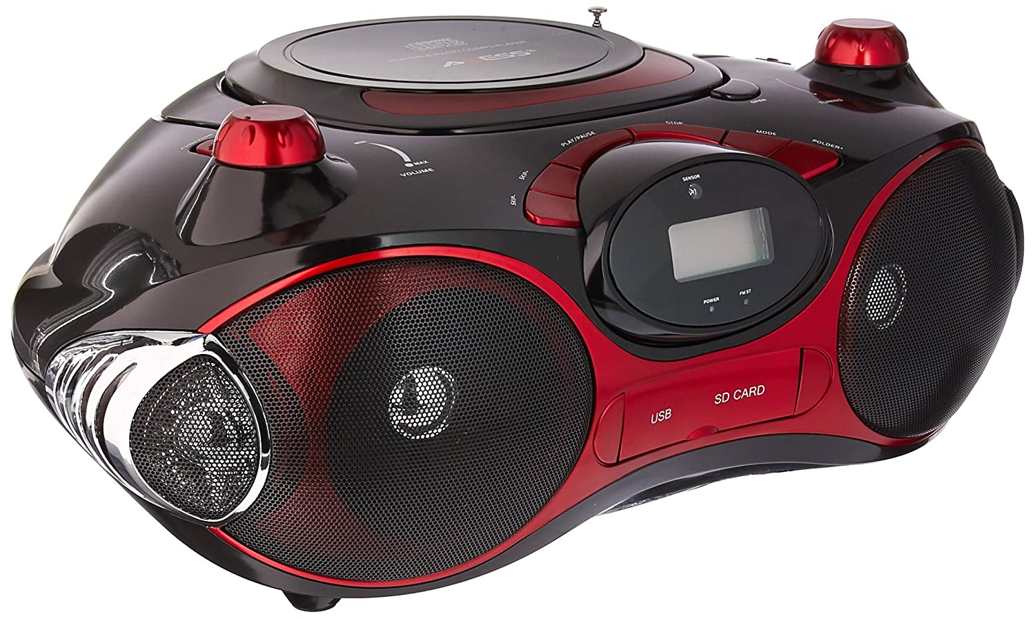 Axess PB2704-RD Portable MP3/CD Boombox with AM/FM Stereo, USB, SD, MMC, AUX Inputs (Red) PB2704RD