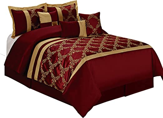 Amazon.com: HIG 7 Piece Comforter Set Queen  Burgundy and Gold