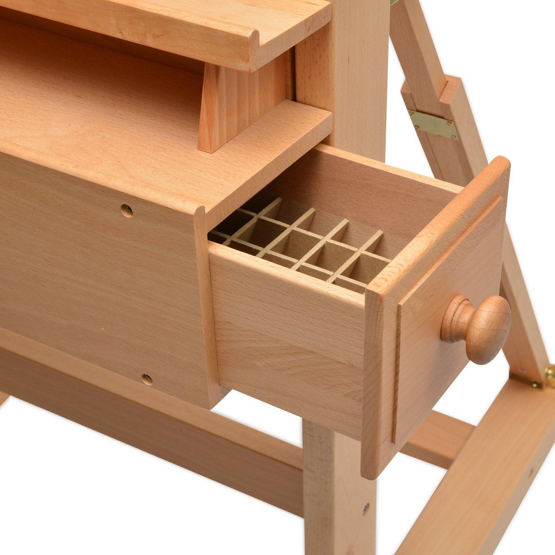 massives Buchen-Holz f/ür Keilrahmen bis 210 cm Artina Profi Atelierstaffelei Verona als Studio-Staffelei auf 4 Rollen