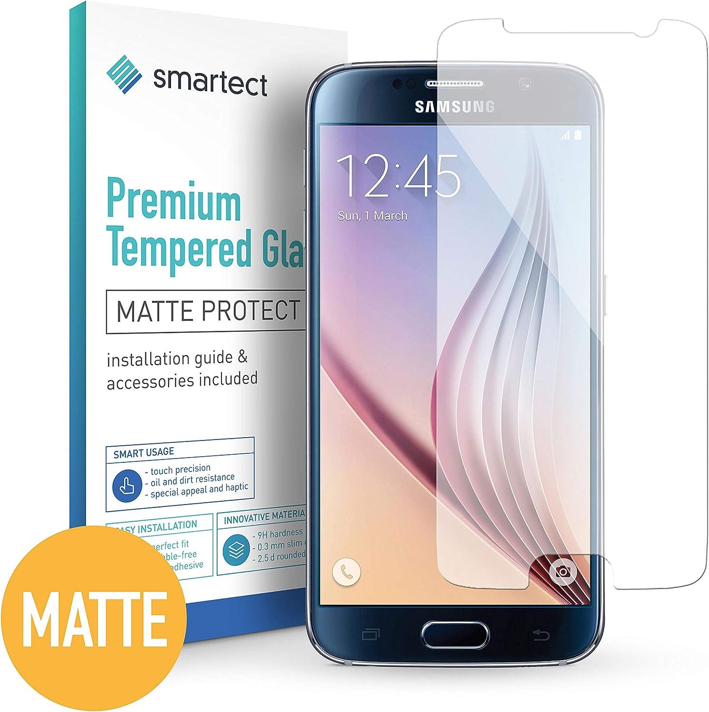 smartect Cristal Templado para Móvil Samsung Galaxy S6 [Mate] - Protector de Pantalla 9H - Diseño Ultrafino - Instalación sin Burbujas - Anti-Huella