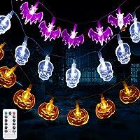 Luces de Cadena de Decoración de Halloween, 3.5M 30 LEDS 8 Modos Calabazas Naranjas, Murciélagos Púrpuras, Calaveras…