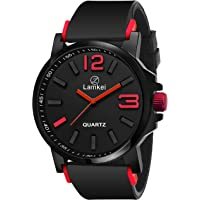 Lamkei LMK-0085 Watch for Men - Fashion Sports Luxury Casual Analogue Quartz Black Dial Black Synthetic Strap Stylish Latest Men's Watch