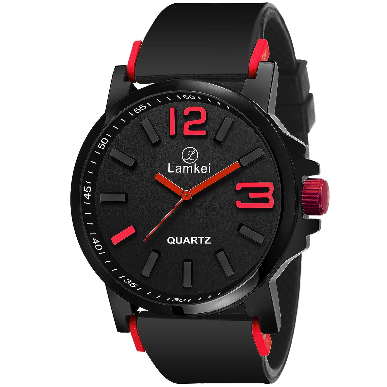 Lamkei LMK-0085 Watch for Men - Black Dial Black Synthetic