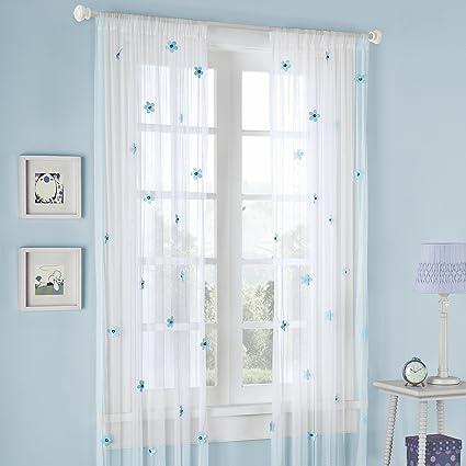 Mi-Zone Lily Window Curtain White/Blue 84\