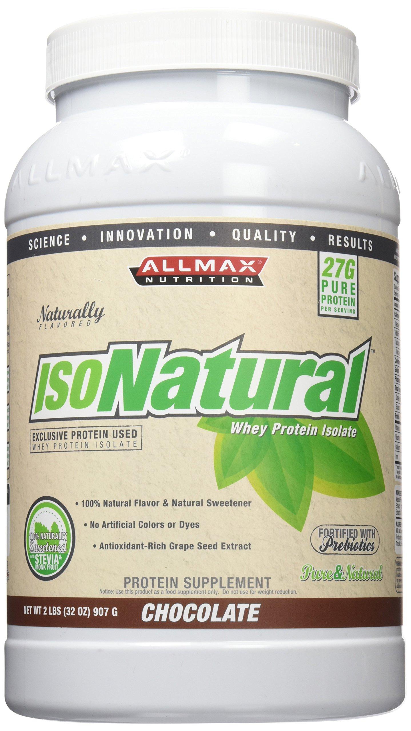Allmax Nutrition Isonatural Protein Chocolate Flavor,NET WT 2 LBS(32OZ) 907G