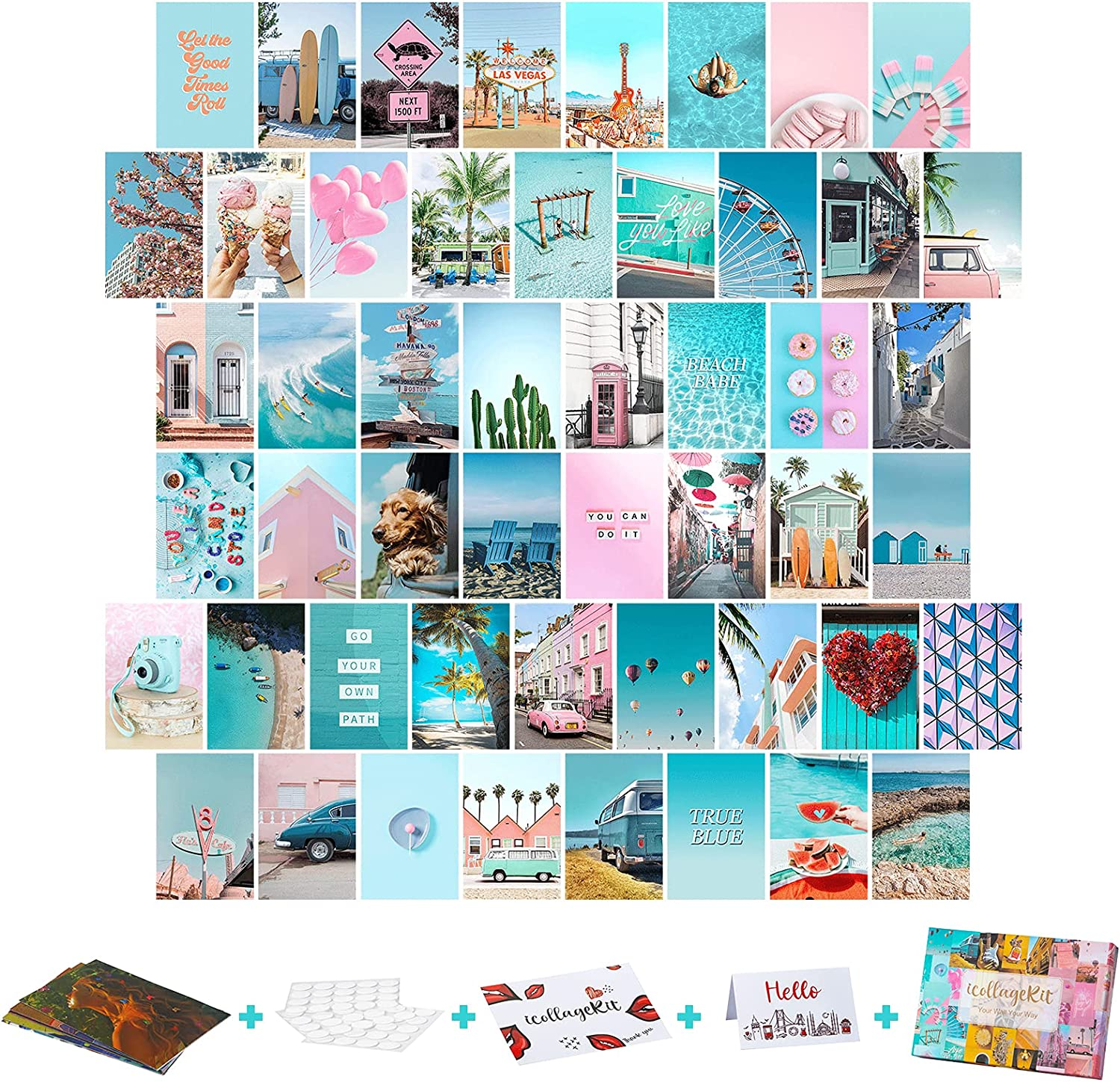 Wall Collage Kit Aesthetic Pictures, 50PCS 4x6 Inch, UnityStar Blue Aesthetic Wall Images Cute Room Decor for Teen Girls, Boho VSCO Photo Collage Kit for Wall Aesthetic