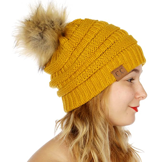 Image Unavailable. Image not available for. Color  C.C Unisex Solid Ribbed Beanie  Hat With Fur Pom Pom Mustard a1ee150e7f8