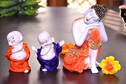 MARINER'S CREATION Divine Resting Buddha Idol with Two Child Monks for Home Decor,Living Room,Bedroom,Office | House Warming Gift | SHOWPIECE for Home D�COR