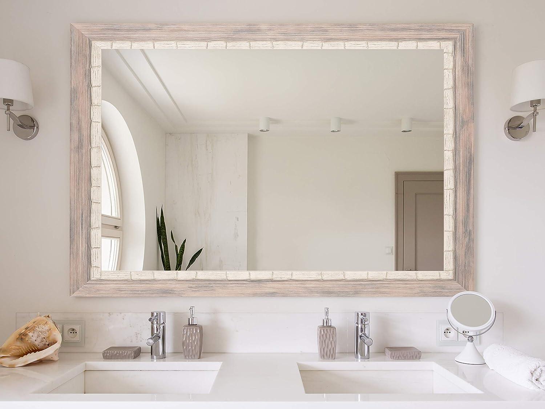 Brandtworks Bm023m Weathered Beach Wall Vanity Mirror 27 X 32 Cream Gray White Home Kitchen