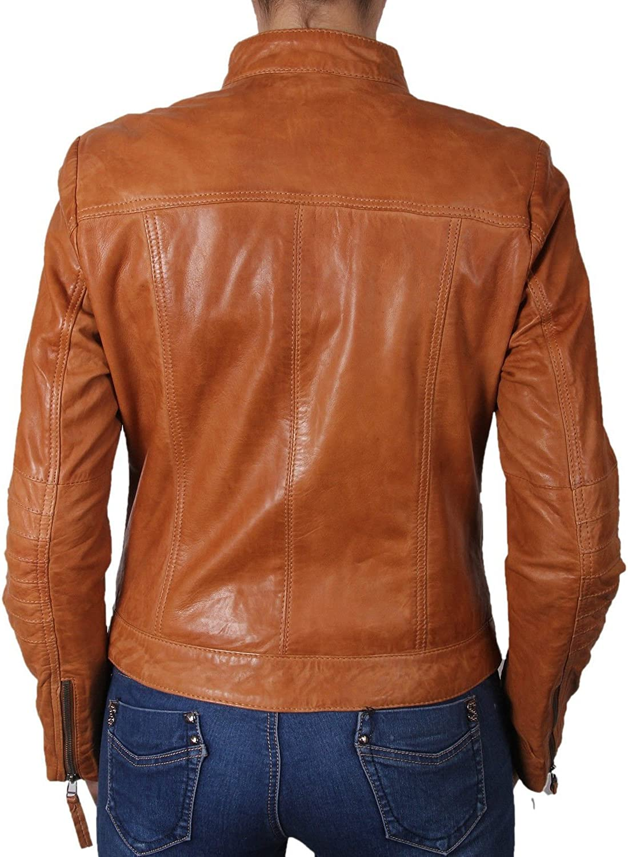 Women Leather Jacket Coat Genuine Lambskin Pure Leather Bomber Biker Jacket LFWN418