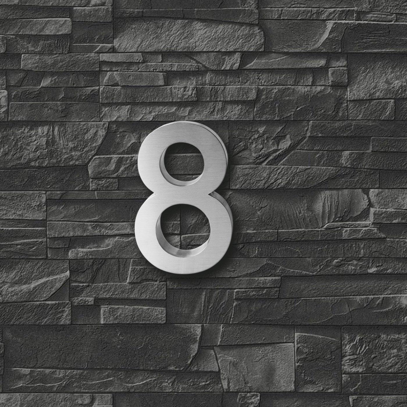 aus geb/ürstetem Edelstahl inkl x 3cm 3D-Hausnummer 9 aus Edelstahl rostfreie /& witterungsbest/ändige Hausnummern im 3D-Effekt in 20cm V2A H/öhe Montagematerial Tiefe