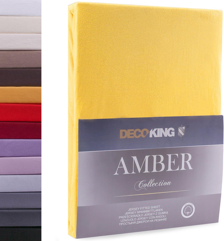DecoKing Drap-Housse en 100/% Coton Peign/é Jersey Orange 80x200-90x200 cm Amber Collection