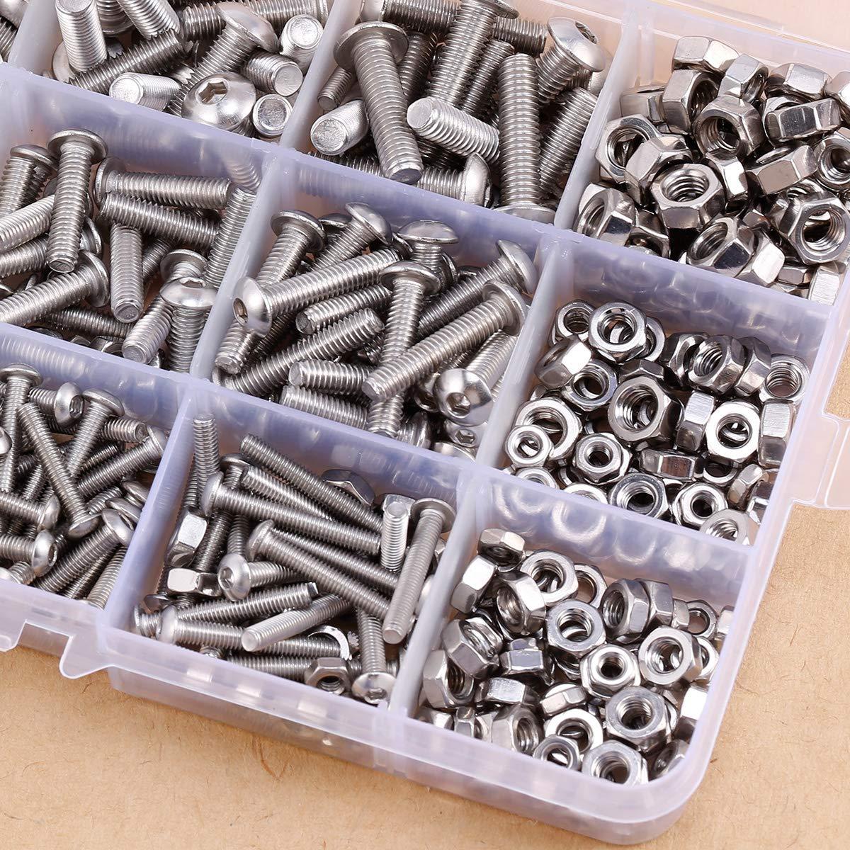 520/pcs M3/M4/M5/Vis /à t/ête hexagonale Boulons /Écrous Ensemble en acier inoxydable kit assortis