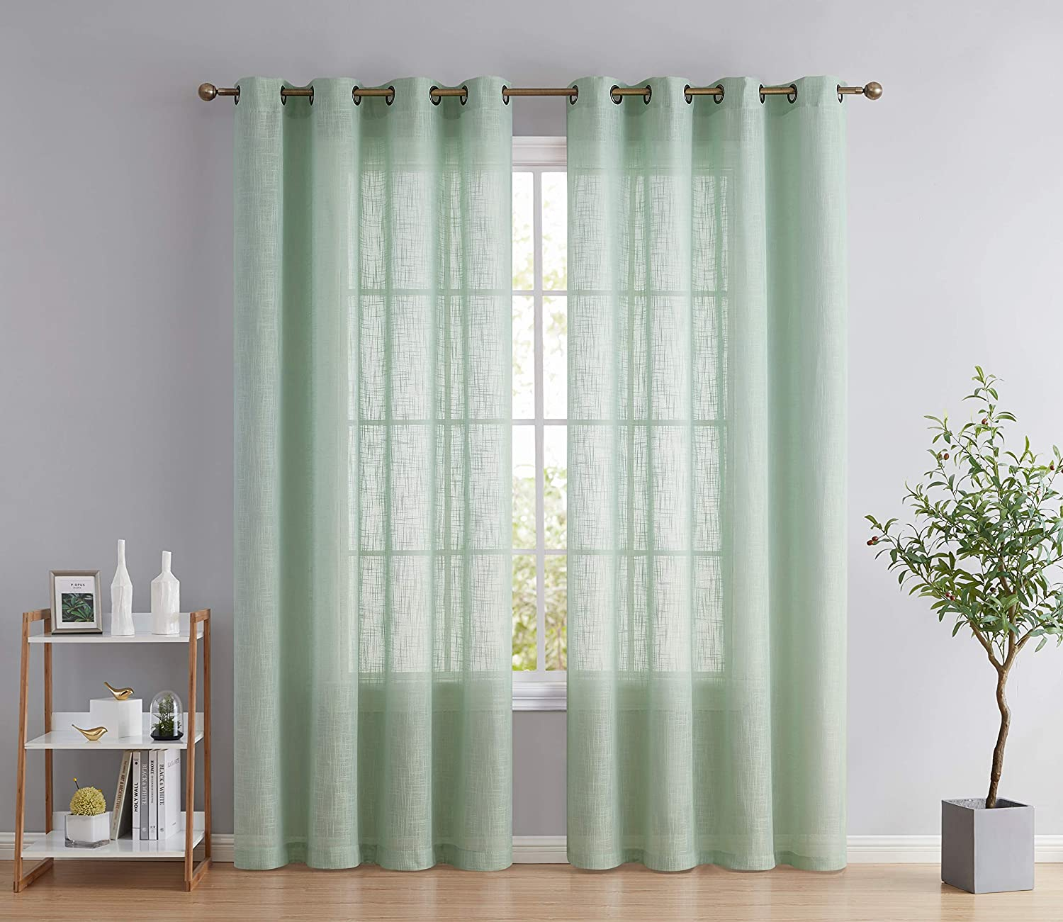 HLC.ME Abbey Faux Linen Textured Semi Sheer Privacy Sun Light Filtering Transparent Window Grommet Long Thick Curtains Drapery Panels for Bedroom & Living Room, 2 Panels (54 W x 96 L, Seafoam Green)