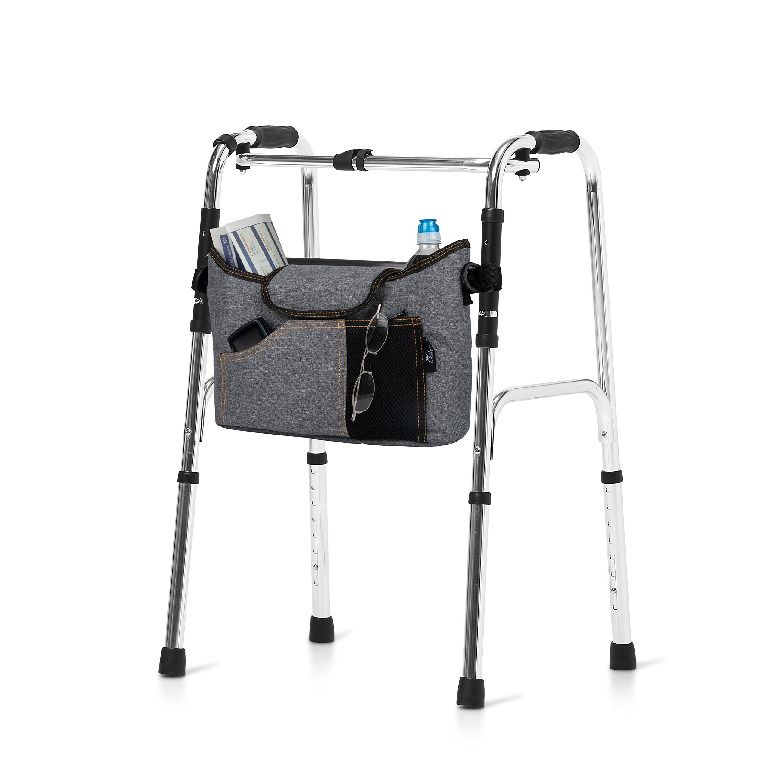 Olivia & Aiden Walker Bag - Wheelchair Pouch for Standard Walkers, Wheelchairs, Bariatric Walkers, and Dual-Point Folding Walkers - Keeps Your Necessities, Accessible and Organized - 2 Bonus Bag Hooks