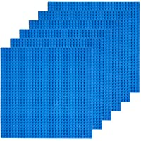 """EKIND 6 PCS Classic Building Baseplate 10"""" x 10"""" Compatible with Lego Brickyard Building Blocks, Perfect for Activity Table or Displaying Compatible Construction Toys (Blue)"""