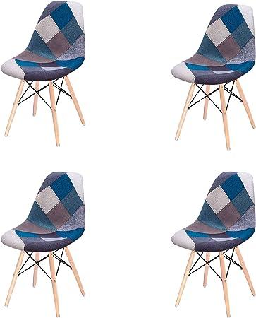 Imagen deJuego de 4 Sillas de Comedor Modernas de Medio Siglo Tapizadas, Tapizadas en Tela Lateral con Base de Madera de Pasador; Ideal para Sala de Estar, Comedor, Cafetería, Sala de Espera, etc. (Azul)