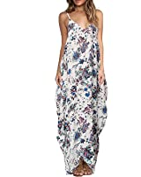 Yidarton Women's Sexy V Neck Strap Floral Print Maxi Dresses Casual Summer Boho Beach Long Dresses