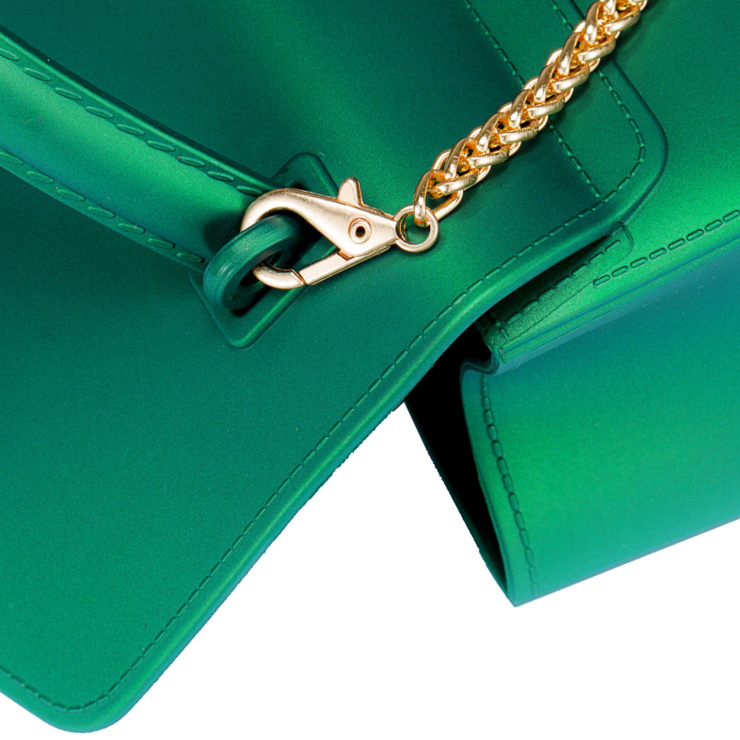 Small Top Handle Handbags Jelly Satchel Bags for Women Tote Purse - Green by Chrysansmile (Image #7)