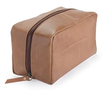 b8535f1c9f40 Harris Luxury Leather Dopp Kit Shaving Toiletry Travel Bag (Sepia Brown)