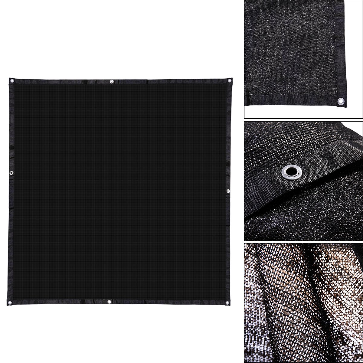 LAZYMOON 10' x 10' Black UV Rated Dog Kennel Shade Cover, Sunblock Shade Panel w/Grommets and Hems on 4 Sides