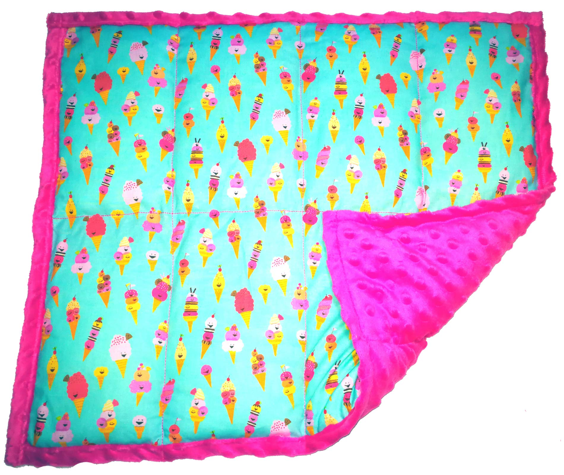 Weighted Lap Pad for Kids by ReachTherapy Solutions - Portable Sensory Support - Choose from Multiple Prints Sizes & Weights (3 lbs & W 21'' x H 18'', Ice Cream!)