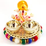 Haldi Kumkum holder with Lord Ganesha idol, Elegant, Handmade in Golden metal - on round golden base with multicolor pearls