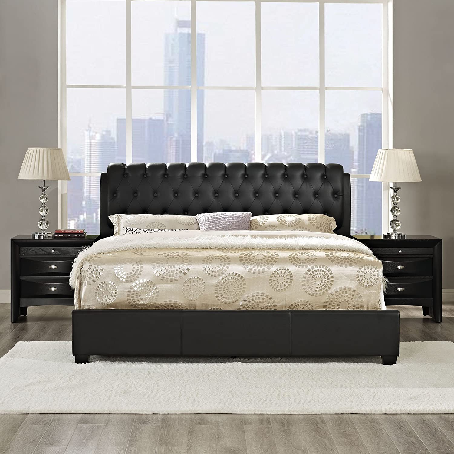 Amazon Modway Francesca 3 Piece Queen Bedroom Set in Black