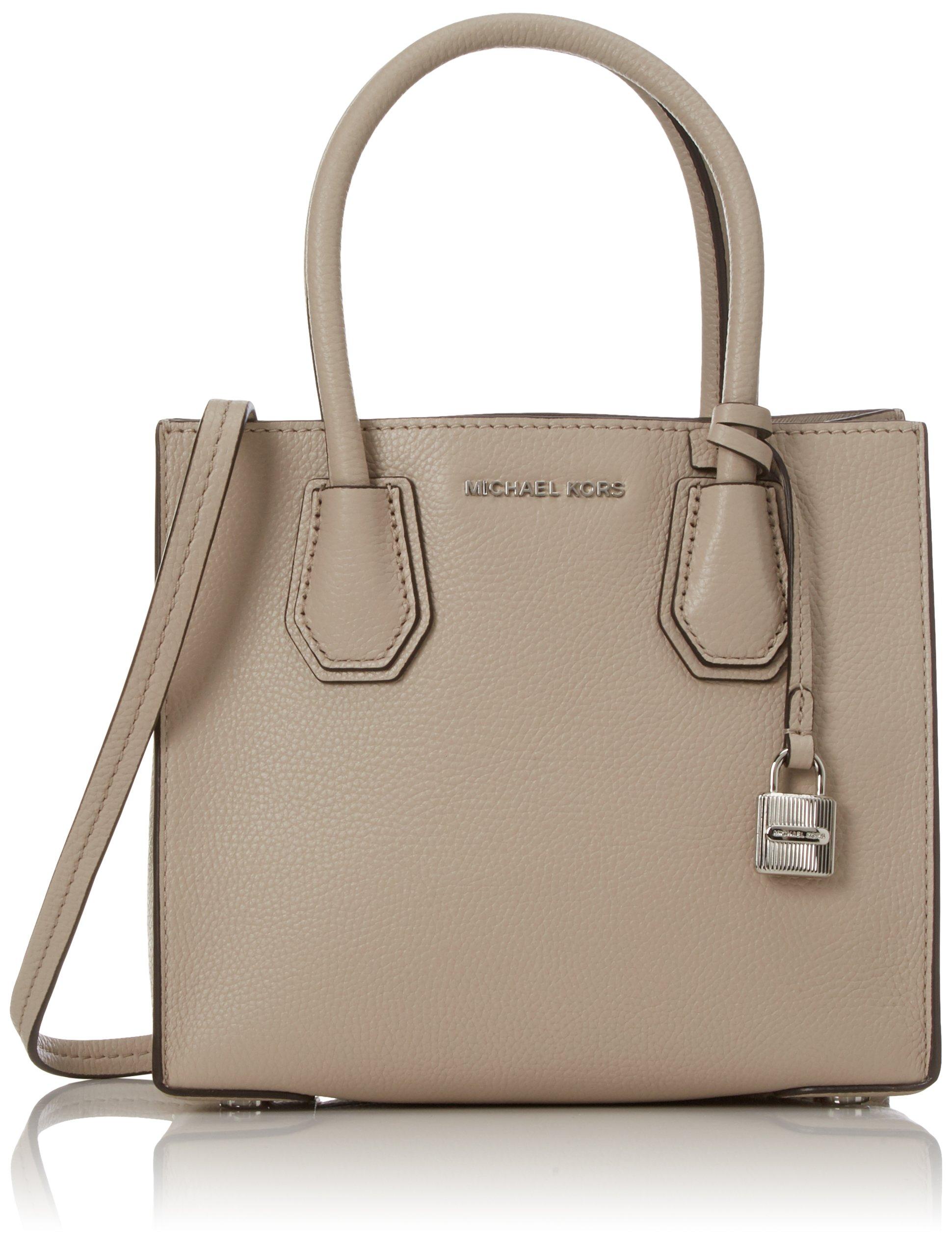 Michael Kors Women's Medium Mercer Bonded Leather Tote Shoulder Bag - Cement