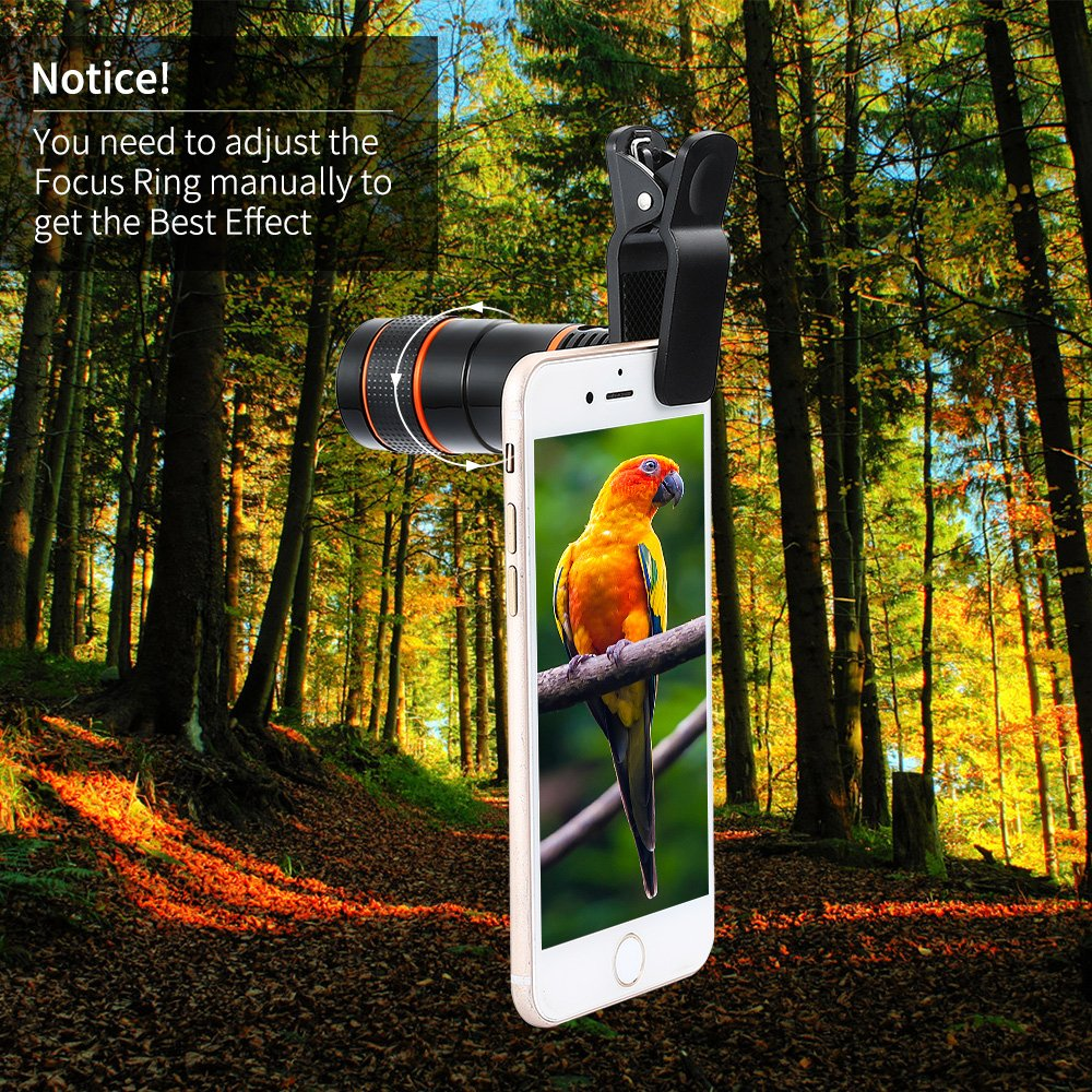 Ranipobo Phone Camera Lens, 12x Zoom Telephoto Monocular Focus Optical External Clip-on Mobile Phone Telescope for iPhone 8/ 7 6 Plus, Galaxy S8/S7, LG, HTC, Moto, Nexus, Sony and More (Black)